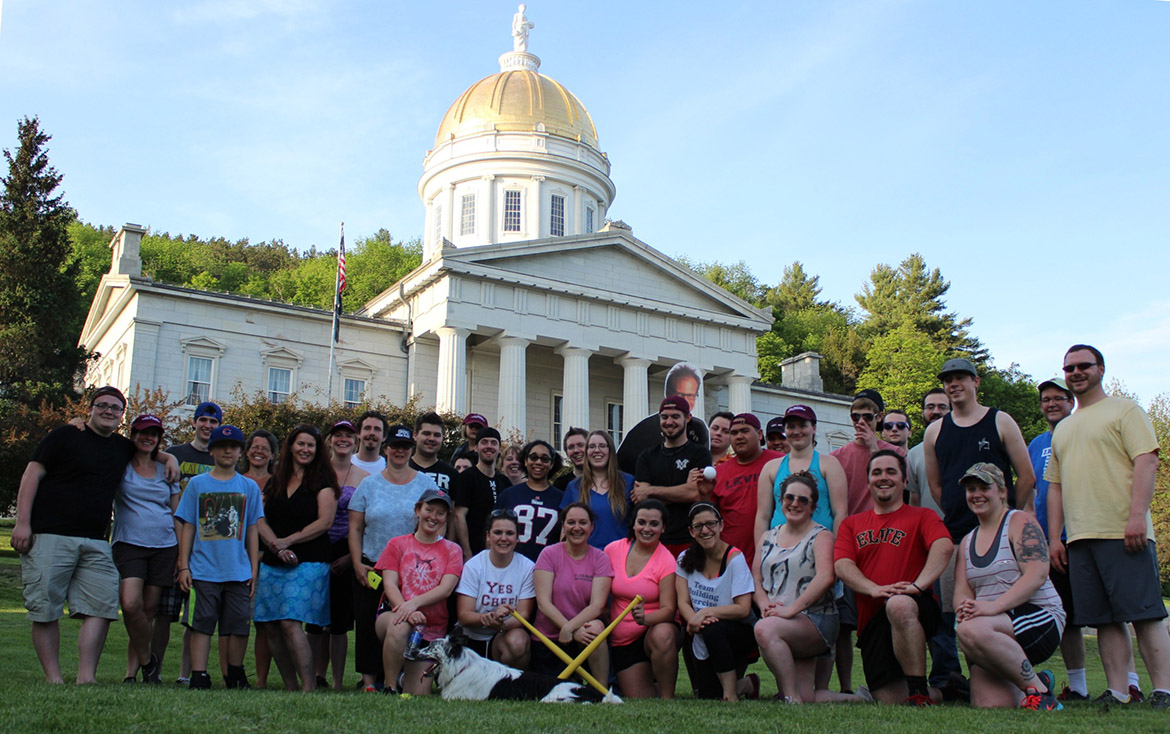 A class in front of the Vermont Capitol