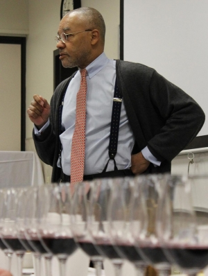 Guest speaker Dewey Markham discusses wines